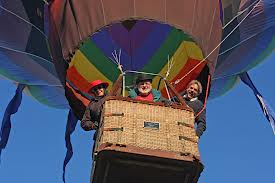 Taking off in a hot air balloon